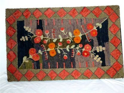 Holly Hocks Hooked Rug